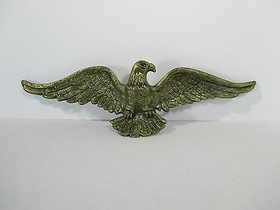 American Eagle Wall Plaque Sculpture Patriotic Spread Wing Cast Metal Gold-Tone