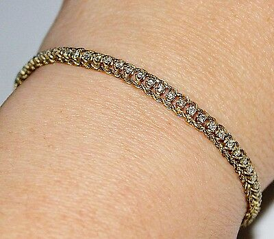 Vintage Estate 14k Yellow Gold Diamond Rope Chain Tennis Bracelet, 1 CTW, 7""