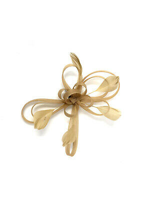 Gold Feather Fascinator Hair Clip Ladies Day Races Party Wedding