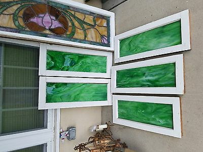 Vintage Stained Glass Windows Green LOT OF 5