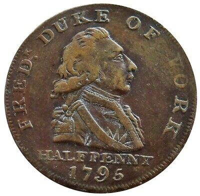 1795 Middlesex London Great Britain Duke Of York Half Penny Conder Token Xf