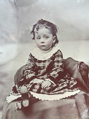 Antique Tintype Photo of an Adorable Little Girl Lovely Dress