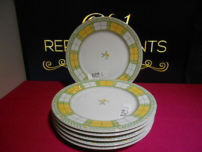 6 x M&S Marks and Spencers Yellow Rose Salad Plates 20.5 cm