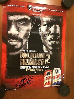 Manny Pacquiao Signed 16x22 Autographed Poster Tecate vs Timothy Bradley