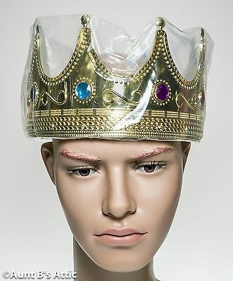 Crown Gold Plastic Kings Open Center 8 Point Jeweled Medieval Renaissance Crown