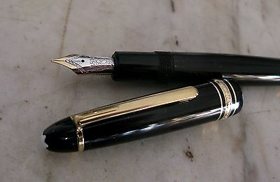 Great Scarce Montblanc Meisterstück 146  Black Fountain Pen- Solid Gold 14 K Nib