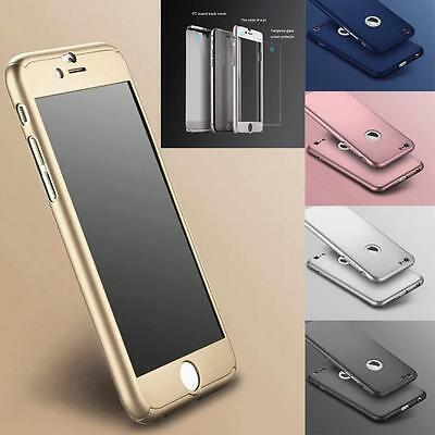 iPhone 6 6S 7 / 7 Plus Case Ultra Thin Slim Hard Cover 360° + Tempered Glass