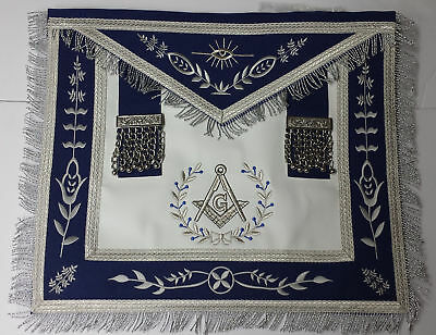 Master Mason Masonic Apron Navy Blue with Fringe Embroidered Silver G - Lambskin