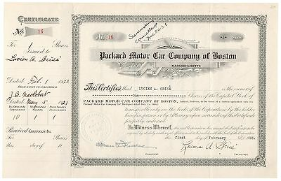 1933 Packard Motor Car Co. of Boston Stock Cert Signed Alvan T. Fuller [2205.006
