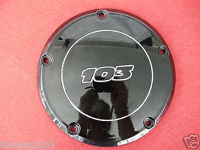 Harley Davidson shiny BLACK 103 DERBY COVER Twin Cam 99-16 5 hole take off