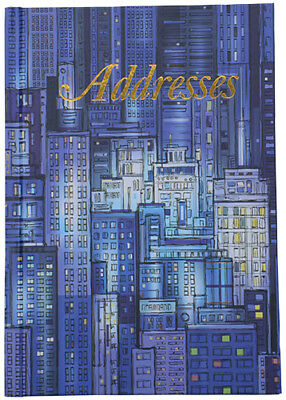 Cumberland Address Book 190 x 130mm Casebound - Blue Cityscape 72 Leaf