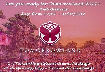 2 tickets tomorrowland 2017 full madness with camping weekend 2 top price eur 815 00. Black Bedroom Furniture Sets. Home Design Ideas