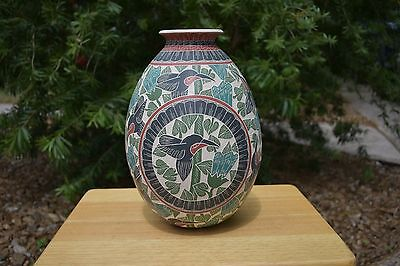 """MATA ORTIZ 13"""" Hand-painted Pottery Vase by HILARIO QUEZADA JR Museum Quality"""