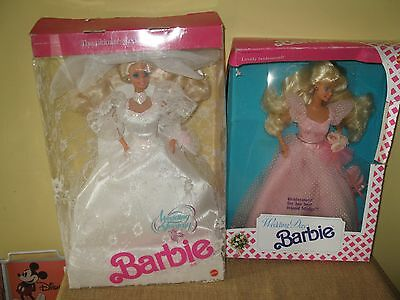 2 Mattel Wedding Day Barbie,Vintage 1990 1989 The Lovely Bridesmaid Bride doll