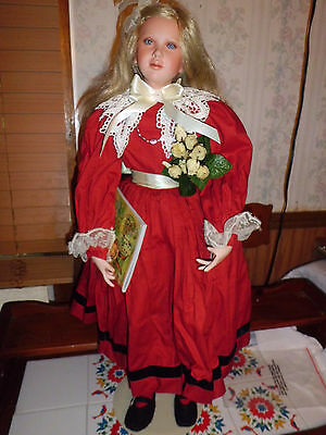"""Cindy Koch 31"""" tall porcelain doll Alice Collectible Concepts w/coa 0396/2000"""