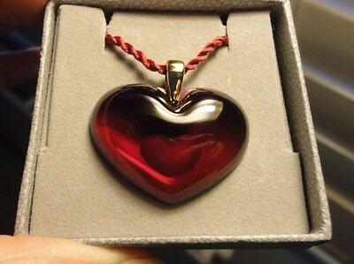 Lalique 'Heart-within-a-Heart' Pendant in Deep Red