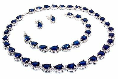 10kt White Gold Filled Blue Sapphire Pear Cut 64.86ct Full Round Necklace Set