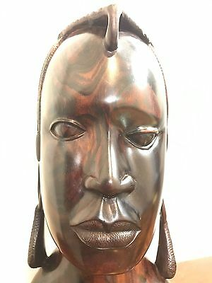 African Ebony Wood Hand Carved Maasai Mara Warrior Tribal Masai Art Statue