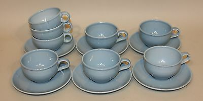 Russel Wright Iroquois Casual China Ice Blue 8 Teacups Tea Cups & 6 Saucers