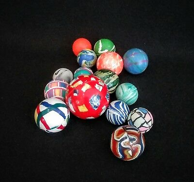 Lot of 15 Assorted Color & Abstract Pattern Themed Rubber Bouncy Balls VGUC