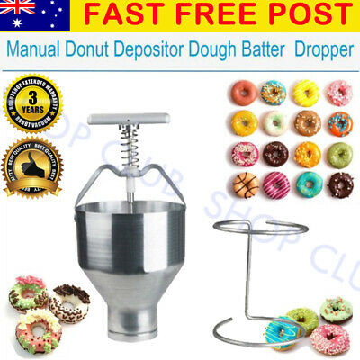 Manual Donut Depositor Dropper Plunger Dough Batter Dispenser Hopper Maker AU