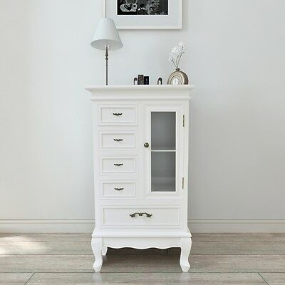 White Cabinet with 5 Drawers 2 Shelves Glass Door for Storage Unit Bedroom