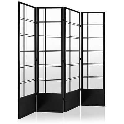 Room Divider 4 Panel Privacy Screen Folding Partition Black Wooden