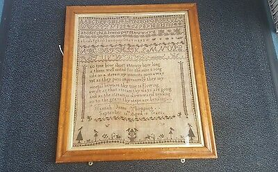 19th Century Victorian Linen Sampler - circa 1850 Hannah Jenna Thompson 10 years