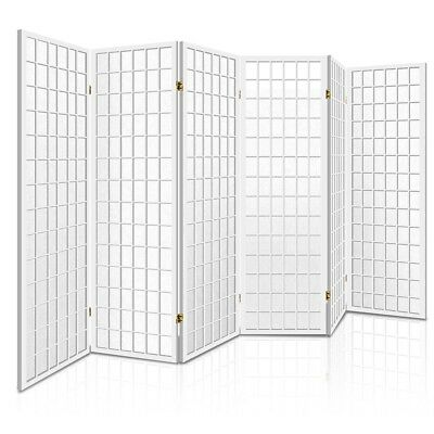Room Divider 6 Panel Privacy Screen Folding Partition White Wooden 261 x 178.5cm