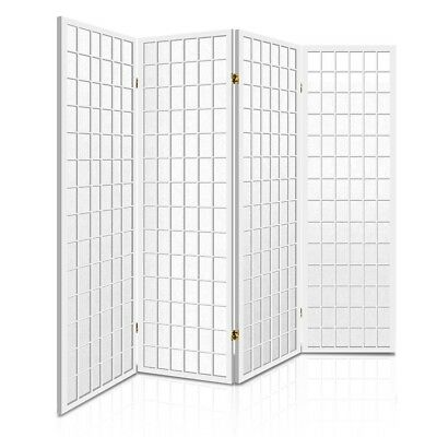 Room Divider 4 Panel Privacy Screen Folding Partition White Wooden