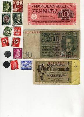NAZI GERMANY BANKNOTE, COIN and STAMP SET  # 117
