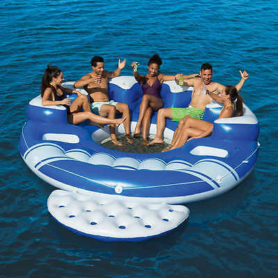 Floating Party Island 6 Person Giant Raft Inflatable Lounge For Lake Pool River