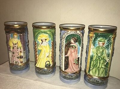 1973 The Budweiser Girls Anheuser Busch Stein's Complete Set Of (4) *Rare* Italy