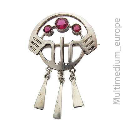 Art Nouveau Brooch Silver Stone Red Type 800 Pin Paste