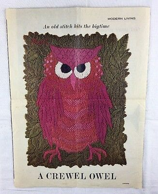 "Vtg 1960's PINK OWL Picture Print from Embroidery Magazine to Frame 8"" x 10"""