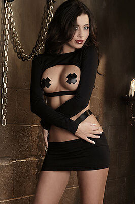 NEW Dreamgirl Open Cup Top with Restraints & Mini Skirt, Top/Matching Set