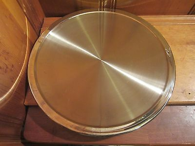 """Frontgate Stainless Steel Hot Cold 14"""" Round Serving Tray Platter Italy EUC"""