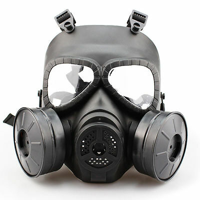 Airsoft Gas Mask Double Filter Fan CS Edition Perspiration Dust Face Guard