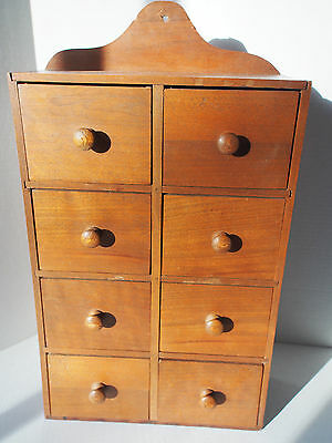 VTG Walnut Wood Apothecary Spice 8 Drawer Chest Cabinet Organizer Wall Table #1