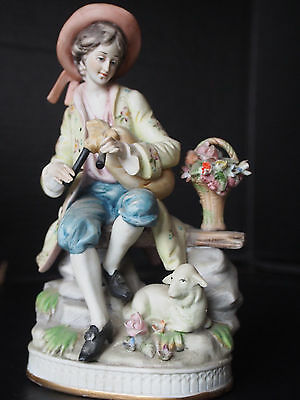 Antique German Sheppard Man in Love w Bagpipe Sheep Lamb w Floral Basket Figure