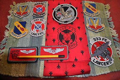 USAF 333d Fighter Squadron 333 FS patch set pilot name tag F-15 4th Wing scarf