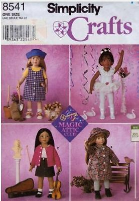 """Simplicity 8541 18"""" Doll Clothes Wardrobe Pattern New Uncut FF"""