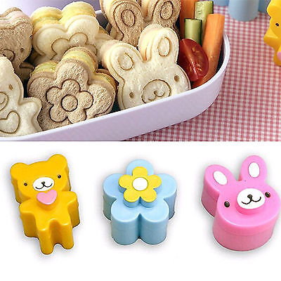 3X Sandwich Toast Crust Cookie Cutter Bread Mold Bento Maker Rabbit Panda Flower