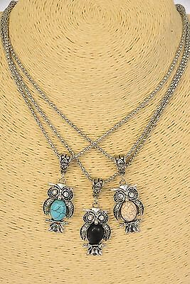 """Owl Necklace with Semi-Precious Stone - 1.5"""" long x 0.75"""" wide"""