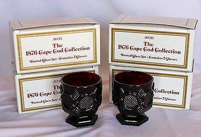 Vtg Lot of 4 Avon Cape Cod Ruby Red Glass Footed Glass Sets (8 pieces) in Boxes