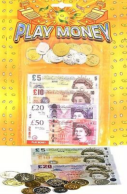 Kid Child  Fake Pretend Money Role Play Shops Cash £ Pound Notes Coins Party Toy