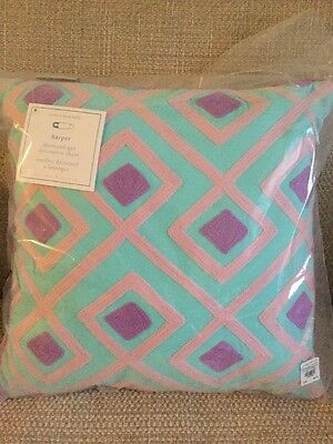 NWT!! Pottery Barn Kids Decorative Pillow Diamond Get Aqua 16x 16