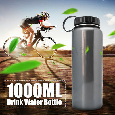 Stainless Steel 1L/1000ML Insulated Vacuum Wide Mouth Outdoor Drink Water Bottle