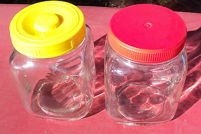 Vintage art deco Two glass Jars red Plastic lid & Yellow lid x 2
