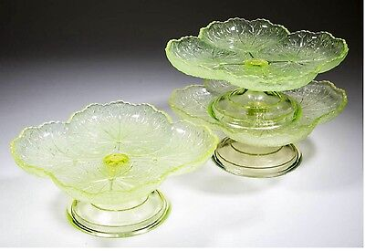 19th Century Vaseline Glass Central no :763 lily pad compotes ,lot of 3 pcs
